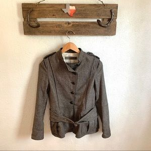Zara Herringbone Asymmetrical Military Jacket